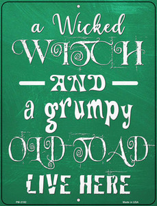 Wicked Witch and Grumpy Toad Wholesale Novelty Mini Metal Parking Sign PM-3192