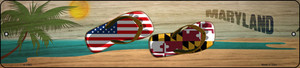 Maryland Flag and US Flag Wholesale Novelty Small Metal Street Sign K-1493