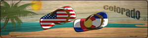 Colorado Flag and US Flag Wholesale Novelty Mini Metal Street Sign MK-1479