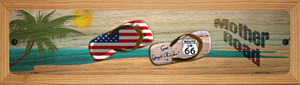 Route 66 and Flag and US Flag Wholesale Novelty Wood Mounted Small Metal Street Sign WB-K-1524
