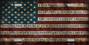 I Pledge Allegiance Flag Wholesale Novelty Metal License Plate Tag LP-13629