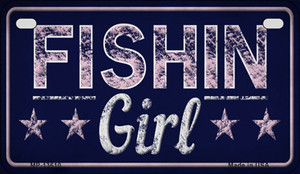 Fishin Girl Wholesale Novelty Metal Motorcycle Plate MP-13610