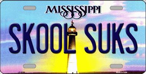 Skool Suks Mississippi Novelty Wholesale Metal License Plate