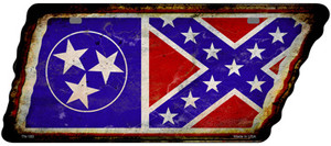 Tennessee Confederate Flag Wholesale Novelty Rusty Effect Metal Tennessee License Plate Tag TN-183