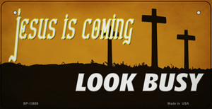 Jesus Is Coming Wholesale Novelty Metal Bicycle Plate BP-13659
