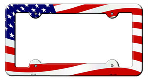 Waving American Flag Wholesale Novelty Metal License Plate Frame LPF-019