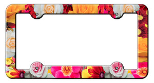 Flowers Wholesale Novelty Metal License Plate Frame LPF-024