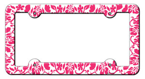 Hibiscus Pink Flower Wholesale Novelty Metal License Plate Frame LPF-025