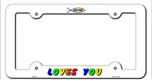 Jesus Loves You Wholesale Novelty Metal License Plate Frame LPF-027