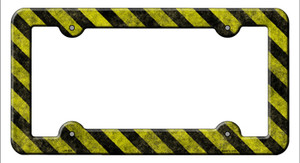 Caution Wholesale Novelty Metal License Plate Frame LPF-035