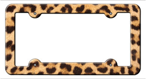 Light Leopard Print Wholesale Novelty Metal License Plate Frame LPF-044