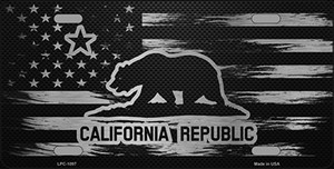 California Carbon Fiber Brushed Aluminum Wholesale Novelty Metal License Plate LPC-1097