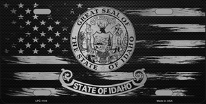 Idaho Carbon Fiber Brushed Aluminum Wholesale Novelty Metal License Plate LPC-1104