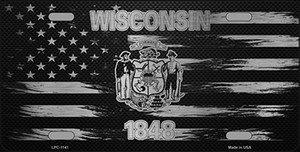 Wisconsin Carbon Fiber Brushed Aluminum Wholesale Novelty Metal License Plate LPC-1141