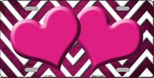 Pink White Hearts Chevron Oil Rubbed Wholesale Metal Novelty License Plate