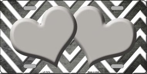 Gray White Hearts Chevron Oil Rubbed Wholesale Metal Novelty License Plate