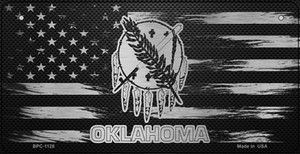 Oklahoma Carbon Fiber Effect Wholesale Novelty Metal Bicycle Plate BPC-1128