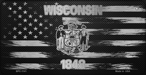Wisconsin Carbon Fiber Effect Wholesale Novelty Metal Bicycle Plate BPC-1141