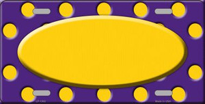 Yellow Purple Polka Dot Pattern With Center Oval Wholesale Metal Novelty License Plate LP-1362