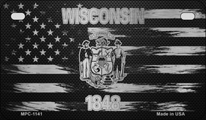 Wisconsin Carbon Fiber Brushed Aluminum Wholesale Novelty Metal Motorcycle Plate MPC-1141