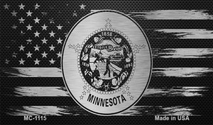 Minnesota Carbon Fiber Brushed Aluminum Wholesale Novelty Metal Magnet MC-1115