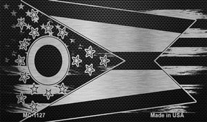 Ohio Carbon Fiber Brushed Aluminum Wholesale Novelty Metal Magnet MC-1127