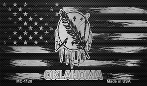 Oklahoma Carbon Fiber Brushed Aluminum Wholesale Novelty Metal Magnet MC-1128