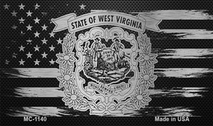 West Virginia Carbon Fiber Brushed Aluminum Wholesale Novelty Metal Magnet MC-1140