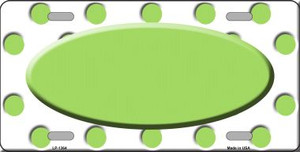 Lime Green White Polka Dot Pattern With Center Oval Wholesale Metal Novelty License Plate LP-1364