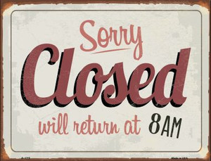 Sorry Closed Wholesale Metal Novelty Parking Sign