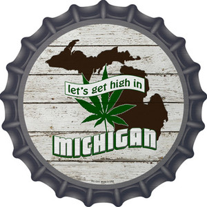 Lets Get High In Michigan Wholesale Novelty Metal Bottle Cap BC-1311