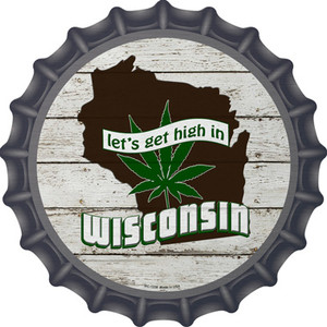 Lets Get High In Wisconsin Wholesale Novelty Metal Bottle Cap BC-1338