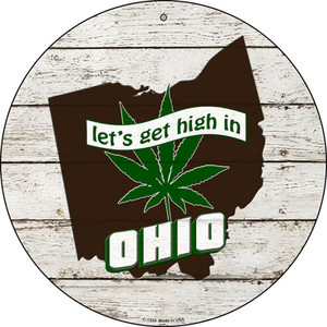 Lets Get High In Ohio Wholesale Novelty Metal Circle C-1324