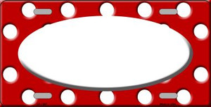 White Red Polka Dot Pattern With Center Oval Wholesale Metal Novelty License Plate LP-1367