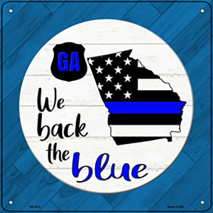 Georgia Back The Blue Wholesale Novelty Metal Square Sign SQ-1012