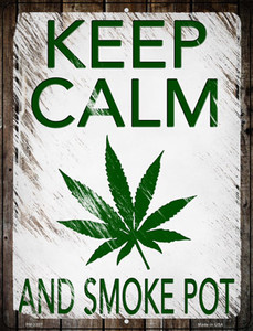 Keep Calm Smoke Pot Wholesale Novelty Metal Mini Parking Sign PM-3307