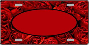 Pattern Red Roses With Red Center Oval Wholesale Metal Novelty License Plate