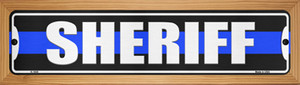 Sheriff Blue Line Wholesale Novelty Wood Mounted Small Metal Street Sign WB-K-1630