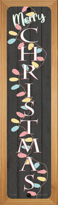 Merry Christmas Lights Black Wholesale Novelty Wood Mounted Small Metal Street Sign WB-K-1634