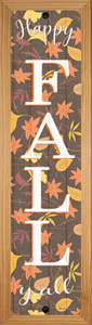 Happy Fall Yall Leaves Wholesale Novelty Wood Mounted Small Metal Street Sign WB-K-1641
