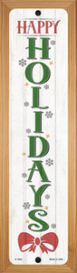 Happy Holidays White Wholesale Novelty Wood Mounted Small Metal Street Sign WB-K-1682