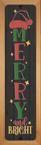 Merry and Bright Black Wholesale Novelty Wood Mounted Small Metal Street Sign WB-K-1688
