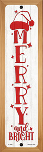 Merry and Bright White Wholesale Novelty Wood Mounted Small Metal Street Sign WB-K-1689