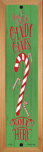 Candy Canes Sold Here Green Wholesale Novelty Wood Mounted Small Metal Street Sign WB-K-1695