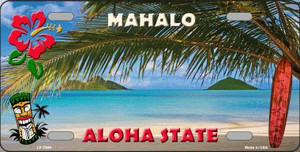 Blank Mahalo Hawaii State Background Novelty Wholesale Metal License Plate