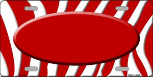 Red White Zebra Pattern With Center Oval Wholesale Metal Novelty License Plate LP-1375