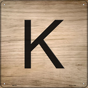 K Letter Tile Wholesale Novelty Metal Square Sign