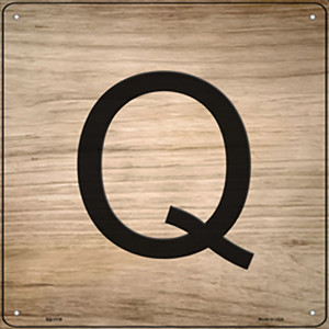 Q Letter Tile Wholesale Novelty Metal Square Sign SQ-1119