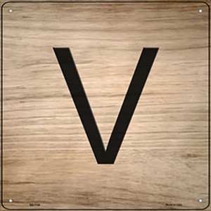 V Letter Tile Wholesale Novelty Metal Square Sign SQ-1124