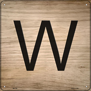W Letter Tile Wholesale Novelty Metal Square Sign